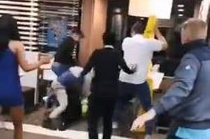 Shocking video shows late night mass brawl inside a McDonald's in Medway