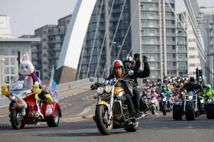 easter egg run in glasgow sees hundreds of bikers join 40th annual charity event