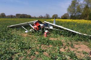 casualty cut free from wreckage of light aircraft near atherstone