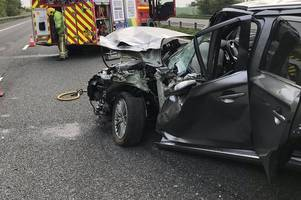 pictures show destroyed car after m4 crash which caused 10 miles of traffic