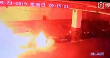 Watch a Tesla Model S Burst Into Flames in a Parking Garage