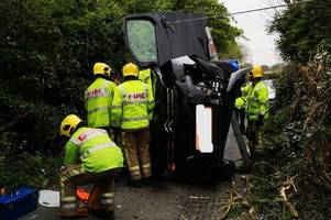 emergency services rushed to crash in narrow lane