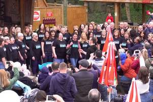 flash mob perform the lion king's circle of life at broxbourne paradise wildlife park