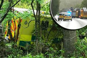 Crashed ambulance swerved to avoid car that pulled out in front of it