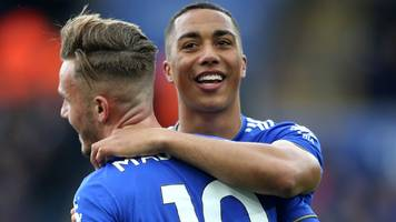 vardy scores twice as leicester dent arsenal's top-four hopes