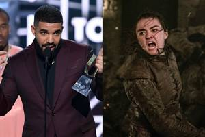 'game of thrones' fans think drake may have doomed arya stark with a shout-out at the bbmas