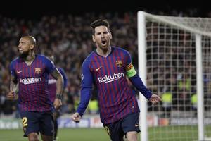 barcelona 3 liverpool 0: messi sparkles as barca go up after first leg