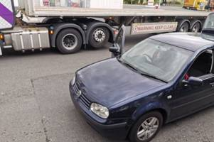 police stop this car after it was caught with 'fake bulgarian plates'