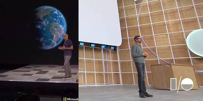 these photos of google's and microsoft's ceos show how far they've taken their rivalry (goog, msft)