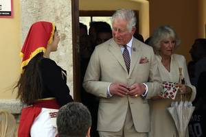 hundreds of well-wishers greet charles and camilla in berlin