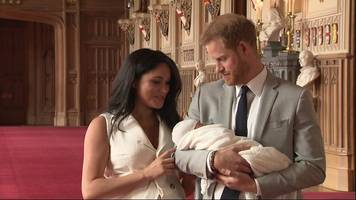prince harry and meghan present their newborn son