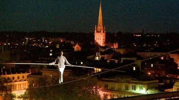 tightrope walk opens norfolk and norwich festival
