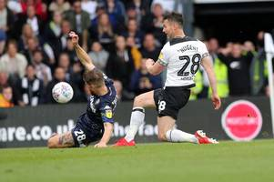 derby county and leeds united all square at half-time in play-off semi-final first leg