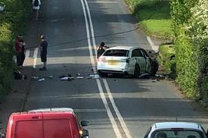 crash brings down power lines - main route out of exeter blocked