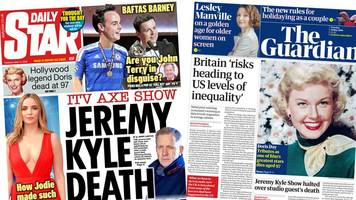 The Papers: Jeremy Kyle 'tragedy' and Doris Day tributes