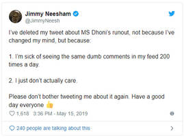 here's why james neesham deleted his tweet on ms dhoni's controversial run out