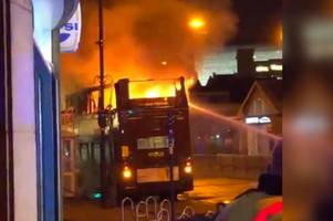 watch as bus goes up in flames after arson attack at digbeth coach station
