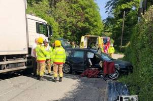 firefighters free woman trapped in this wreckage after crash with hgv