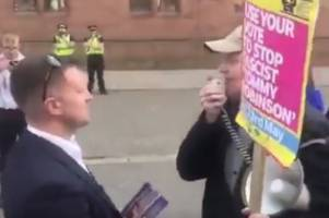 'Tommy Robinson is a Nazi' Far-right EDL founder shouted down by Scots activist on election trail