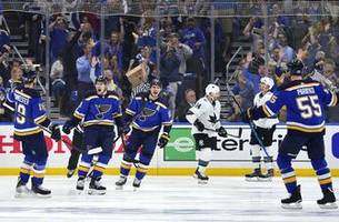 blues tie series at two games apiece with 2-1 victory over sharks