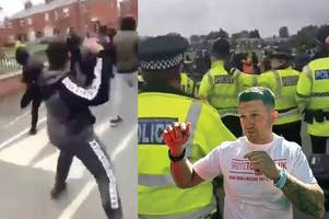 'Nazi scum' Tommy Robinson supporters and rival protesters clash in ugly scenes