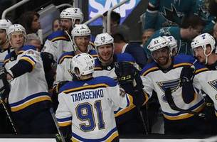 blues sit one game away from stanley cup final after 5-0 win over sharks