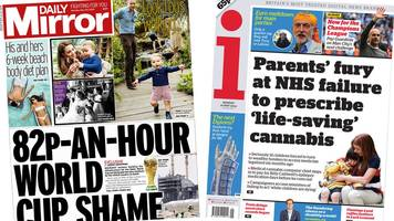 newspaper headlines: world cup 'shame' and prince louis walks