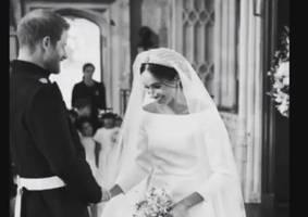 harry and meghan mark anniversary with new wedding photos