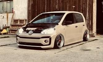 creamy volkswagen up! has vr6 engine swap, looks worthersee-ready