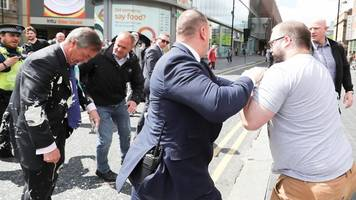 Nigel Farage: Milkshake thrown at Brexit Party leader