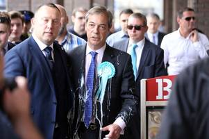 Nigel Farage is hit by milkshake while campaigning for Brexit Party in Newcastle