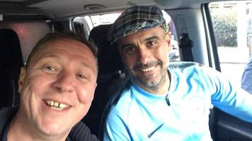 pep guardiola gets lift from manchester city fan