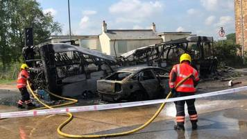 cambridgeshire guided busway fire: car driver has 'serious injuries'