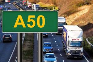 live: long delays on a50 near derby after car goes into ditch