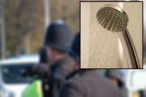 police officer went to victim's house, stripped and climbed into shower with them