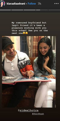 kiara advani shares a picture with her rumoured boyfriend sidharth malhotra