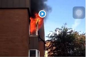 Footage shows block of flats in flames as emergency services attend scene of major fire in Gloucestershire
