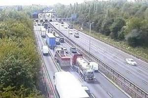 long delays after crash closes lanes on m6 in walsall - live updates