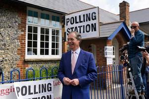 Pictures show Nigel Farage beaming outside Kent polling station after voting in 2019 European elections