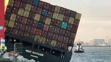 crew evacuated from tilting cargo ship in liverpool