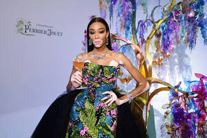 maison perrier-jouet and winnie harlow turn the amfar gala cannes red carpet green with an extravagant creation inspired by unbridled nature