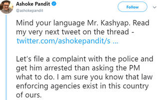 anurag kashyap asks pm modi for help as daughter receives rape threat