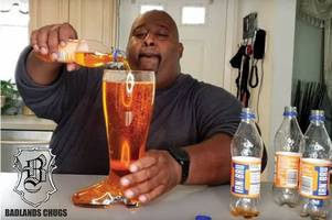 hilarious american youtube star chugs 2l of irn-bru from glass boot - in only 30 seconds