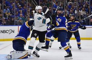 blues' dunn practices with full face shield but remains uncertain for game 1
