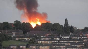 church gresley fire engulfs stack of pallets