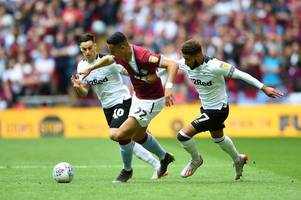 derby county trail aston villa at half-time in championship play-off final after late el ghazi header