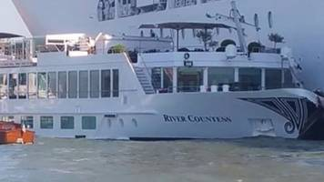 huge cruise ship crashes into venice harbour