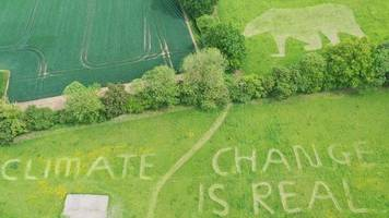 donald trump visit: student mows green message for president trump