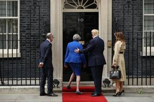 no handshake for theresa may as she welcomes donald trump to downing street
