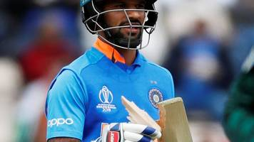 cricket world cup: india's shikhar dhawan breaks his bat against south africa